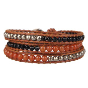 Black Onyx, Red Jade and Dull Gold Pyrite Bead Wrap Bracelet on Brown Leather