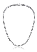 Womens Magnificent 4mm Round Cubic Zirconia Tennis Necklace