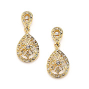 Mariell Vintage Art Deco 14K Gold Plated Etched CZ Drop Fashion Earrings for Weddings or Bridesmaids