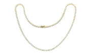 Womens Gold Plated Magnificent 4mm Round Cubic Zirconia Tennis Necklace