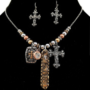Western Peak Western Vintage Hammered Cross Faith Hope Pendant Necklace with Earrings