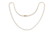 Womens Rose Gold Plated Magnificent 4mm Round Cubic Zirconia Tennis Necklace