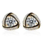 18K Gold Plated Cubic Zirconia Triangle Stud Earrings