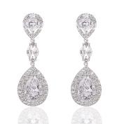 Wordless Love Genuine Rhodium Plated Cubic Zirconia Teardrop Bride Wedding Dangle Pierced Earrings Clear