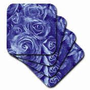 Jaclinart Close Up Scene of Dreamy Muted Denim Blue Roses Coaster