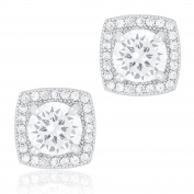 18k White Gold Plated Cubic Zirconia Cushion Shape Halo Stud Earrings (1.45 carats) by ORROUS & CO