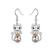 Alvdis One Pair Princess Cat Style Crystal Fashion Ear Ring Earring