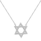 Sterling Silver Star of David CZ Pendant Necklace