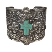 Simulated Turquoise Western Style Silver Tone Wide Cuff Bracelet