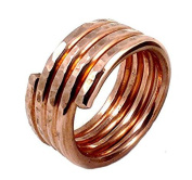 Elaments Design Solid Copper Ring Spiral Four Loops Size 8 Hand Hammered