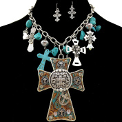 Western Peak Western Tooled Cross Rhinestone Pendant with Charms Necklace and Earrings