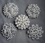 5 Rhinestone Brooch Pin Back X LARGE Pearl Crystal Wedding Brooch Bouquet Invitation Cake Decoration Hair Comb Shoe Clip BR213