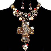 Western Peak Western Chunky Bubble Layered Necklace with Boots on Cross Pendant with Earrings