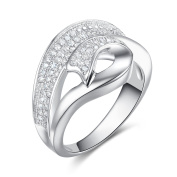 GTR4175 S925 Silver CZ Stones 1.0 Carats Cocktail Ring Rhodium Plated