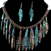 Western Peak Bohemian Tritone Tassels Metal Feathers Necklace with Earrings