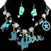 Western Peak Western Turquoise Love Texas State and Everything About It Charm Necklace and Earrings