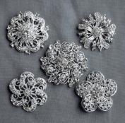 5 Rhinestone Brooch Embellishment X LARGE Pearl Crystal Hair Comb Clip Wedding Brooch Bouquet Invitation Cake Hair Comb BR294
