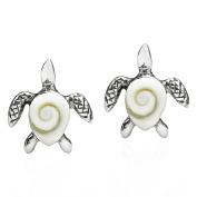 Mother Earth Sea Turtle Shiva Swirl Shell .925 Sterling Silver Post Earrings