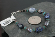 $100 Authentic Made by Charlene Little Navajo .925 Sterling Silver Natural KINGMAN Turquoise Lapis Abbeloni Native American Bracelet