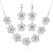 U7 Women 2 Pieces Jewellery Set 18K Gold Plated Flower Necklace Earrings Set
