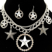 Western Peak Silver Western Texas Star Chain Necklace with Earrings