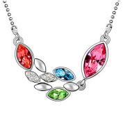 Alvdis Fashion Jewellery Oval String Style Sterling Crystal Pendant Necklace, 41cm