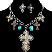Western Peak Western Tritone Rhinestone Cross Charms Necklace with Earrings