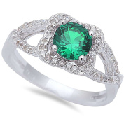 Halo Style Green Simulated Emerald & Cz .925 Sterling Silver Ring Sizes 6-9