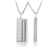 RUINUO Stainless Steel 'Forever LoveCubic ' Zircon Necklaces for Lover Couple