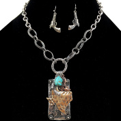 Western Peak Western Vintage Hammered Plate Texas State Boots Turquoise Charms Pendant Necklace with Earring