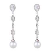 Wordless Love Rhodium Plated Pear CZ Long Wedding Earrings with Genuine Shell Pearl Drops