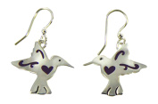 Silver-Plated Hummingbird with Purple Heart Dangle Earrings