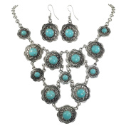 Simulated Turquoise Silver Tone Western Southwestern Look Necklace & Dangle Earring Set