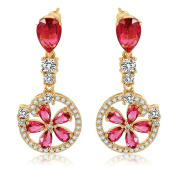 KnSam Women Rose Gold Plate Pierced Drop Earrings Flower Circle Crystal Rhinestone Red [Novelty Earrings]