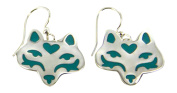 Silver-Plated Wolf Head Dangle Earrings Blue Resin Accents