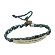 Peace Comes from Within Wakami Quote Bracelet, Mixed Metals, Blue, Open-Weave