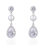Wordless Love Women Pear Shaped Cubic Zirconia Wedding Earrings with Simulated Pearl Drops