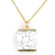 United Elegance - Gold Tone Necklace with Agglomerated Stone Pendant