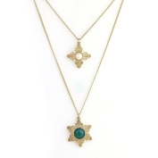 United Elegance - Gold Tone Necklace with Faux Pearl & Stone