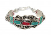 Turquoise Bracelet, Coral Bracelet, Tibet Bracelet, Nepal Bracelet, Boho Bracelet, Gypsy Bracelet