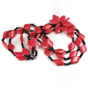 NY6design Multi Strands Red Magnesite Turquoise With Flower Pendant Long Necklace 60cm N14071145i