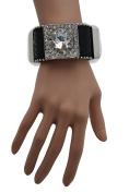 TFJ Women Geniune Leather Bracelet Western Fashion Jewellery Silver Glass Circles Rhinestones Black