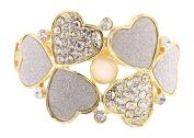 Hearts Grey Sparkle Texture Rhinestone Hinged Goldtone Cuff Bracelet
