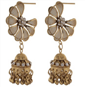 Zephyrr Fashion Lightweight Gold Tone Floral Jhumki Earrings with Zircons for Women