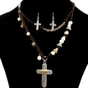 Western Peak Western Vintage Cross Pearl Crystal Charms Pendant Necklace with Earrings