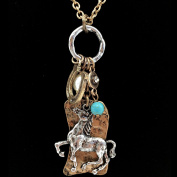 Western Peak Horse Hammered Plate Horseshoe Pearl Turquoise Charms Necklace with Earrings