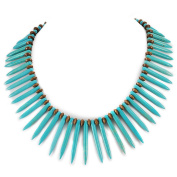 002 Ny6Design Large Magnesite Turquoise Branch/Wood Beads Necklace w/Silver Plated Toggle 47cm N13092018c