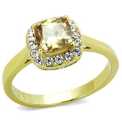 Womens Goldtone Stainless Steel Champagne Cushion Cut Cubic Zirconia Clear Halo Engagement Ring