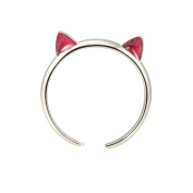 "AppleLatte ""Cat Ears"" Silver Plated Adjustable Midi Cat Ring with Red Ears"