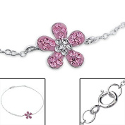 Children's Pink Flower Silver Bracelet